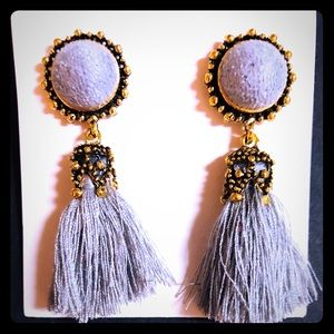 Jewelry - Gray Tassel Earrings - New With Tags